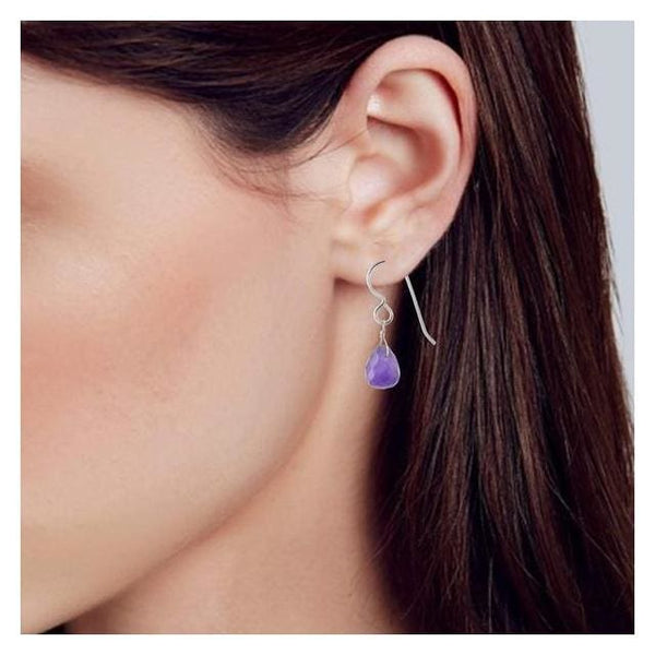 Dainty Amethyst Drop Earrings | Amethyst Gemstone Jewelry - Earrings