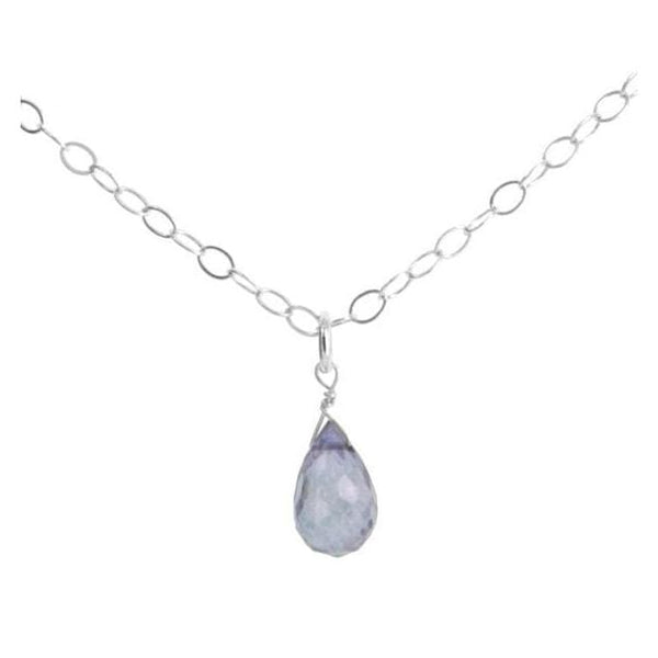Dainty Blue Dangle Pendant | Blue Quartz | Silver Gemstone Necklace - Necklaces