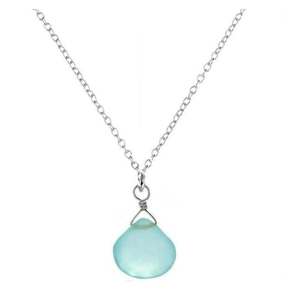 Dainty Blue Necklace | Baby Blue Chalcedony | Small Gemstone Pendant - Necklaces