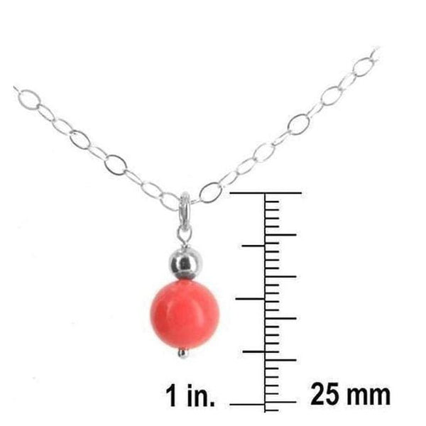 Dainty Coral Necklace | Orange Coral Bead | Small Pendant - Necklaces