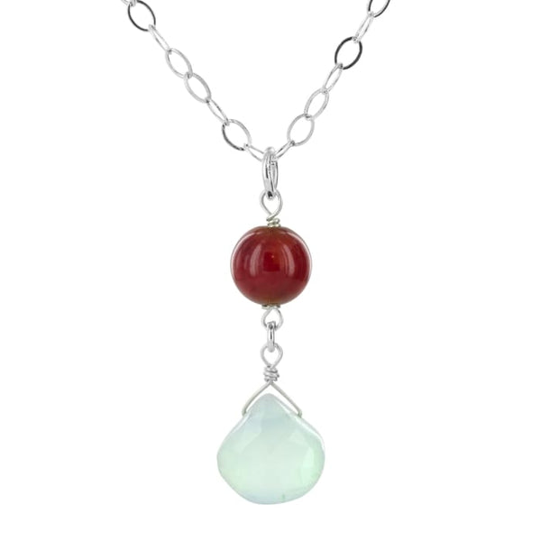 Dainty Gemstone Necklace | Aqua Chalcedony Red Bamboo Coral Pendant - Necklaces