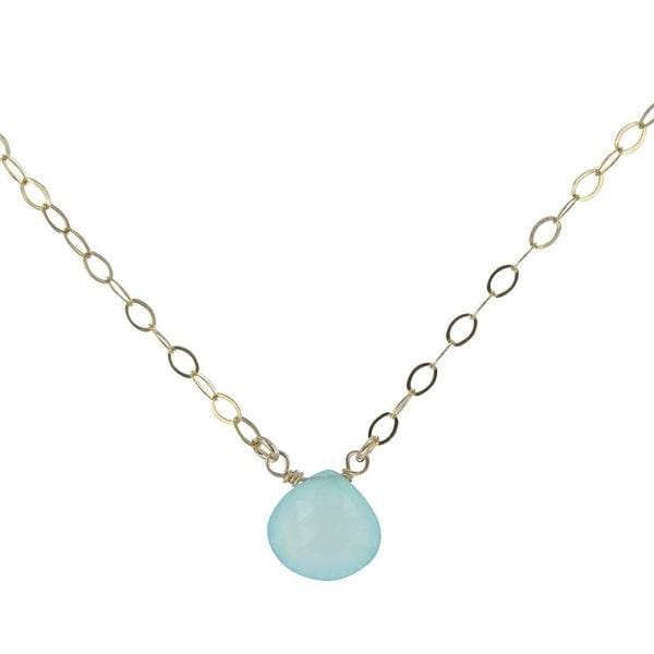 Dainty Gemstone Necklace | Blue Chalcedony Gold Pendant | Blue Necklace - Necklaces