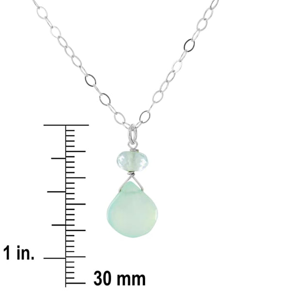 Dainty Light Blue Gemstone Necklace Aqua Chalcedony and Aquamarine in Sterling Silver 18-inch Chain - Necklaces