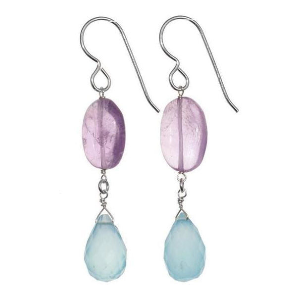 Dangle Earrings | Amethyst Chalcedony Silver Gemstone Earrings - Earrings