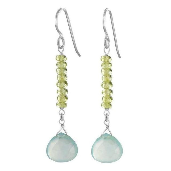 Dangle Earrings | Blue Chalcedony Peridot Gemstones | Baby Blue Light Green - Earrings