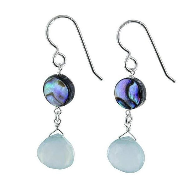 Dangle Gemstone Earrings | Aqua Blue Chalcedony Mother of Pearl | Drop Earrings - Earrings