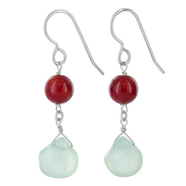 Dangle Gemstone Earrings | Blue Chalcedony Coral | Drop Earrings - Earrings