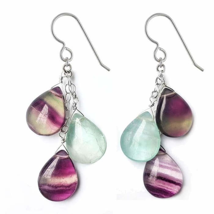 Fluorite Earrings | Polished Purple and Green Fluorite Gemstones | Sterling Silver Handmade Dangle Chandelier Earrings - Earrings