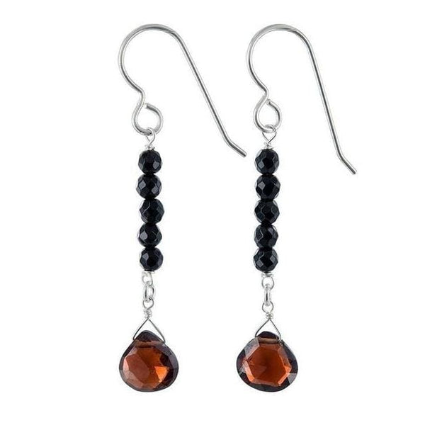 Garnet Dangle Earrings | Black Onyx Gemstones | January Birthstones - Earrings