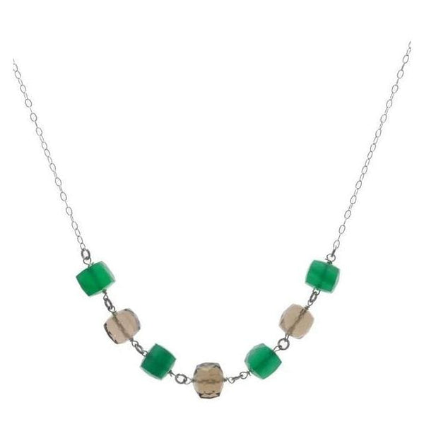Gemstone Necklace | Green Chalcedony Smoky Quartz Bead Necklace - Necklaces