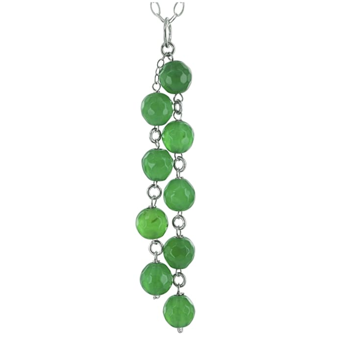 Green Bead Necklace | Chandelier Pendant | Emerald Agate Gemstones - Necklaces