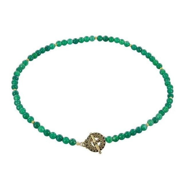 Green Bead Necklace | Classic Gemstone Strand Necklace | Emerald Agate - Necklaces