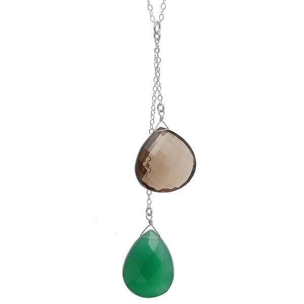 Green Brown Pendant | Green Chalcedony Smoky Quartz | Gemstone Necklace - Necklaces