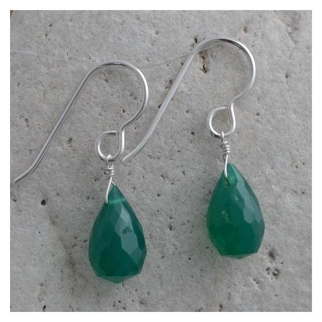 Green Dangle Earrings | Emerald Green Chalcedony | Gemstones Jewelry - Earrings