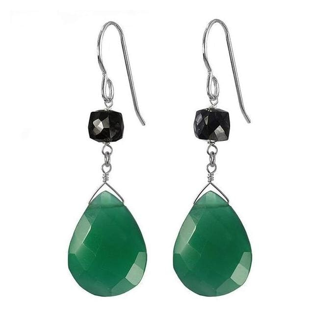 Green Dangle Earrings | Large Green Chalcedony Black Spinel Gemstones - Earrings