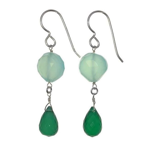 Green Dangle Earrings | Green Light Blue Chalcedony | Gemstone Earrings - Earrings