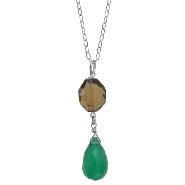 Green Dangle Pendant | Emerald Green Chalcedony Smoky Quartz Gemstone Necklace - Necklaces