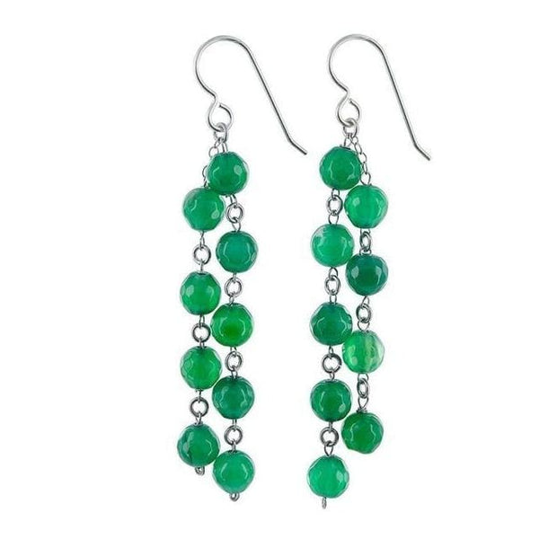 Green Earrings | Chandelier Earrings | Emerald Green Agate Gemstones - Earrings