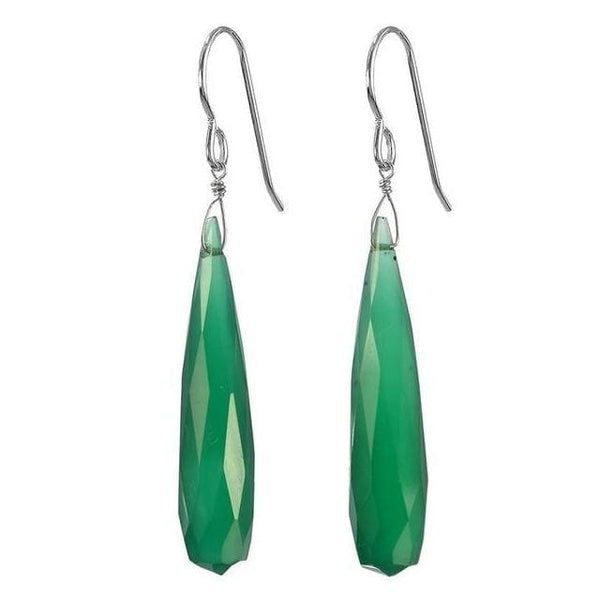 Green Earrings | Emerald Green Chalcedony | Gemstone Dangle Earrings - Earrings