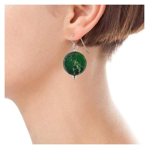 Green Gemstone Large Earrings | Green Jasper Gemstones - Earrings