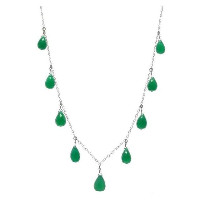 Green Gemstone Necklace | Emerald Green Chalcedony Briolette Cut - Necklaces