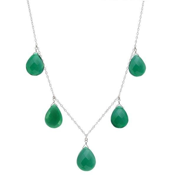 Green Gemstone Necklace | Large Emerald Green Chalcedony - Necklaces