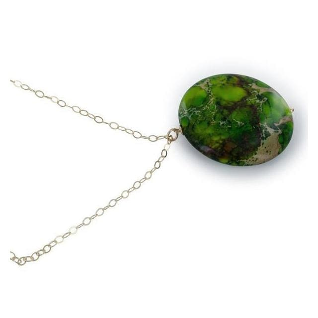 Green Gemstone Pendant | Green Jasper Gold Necklace - Necklaces