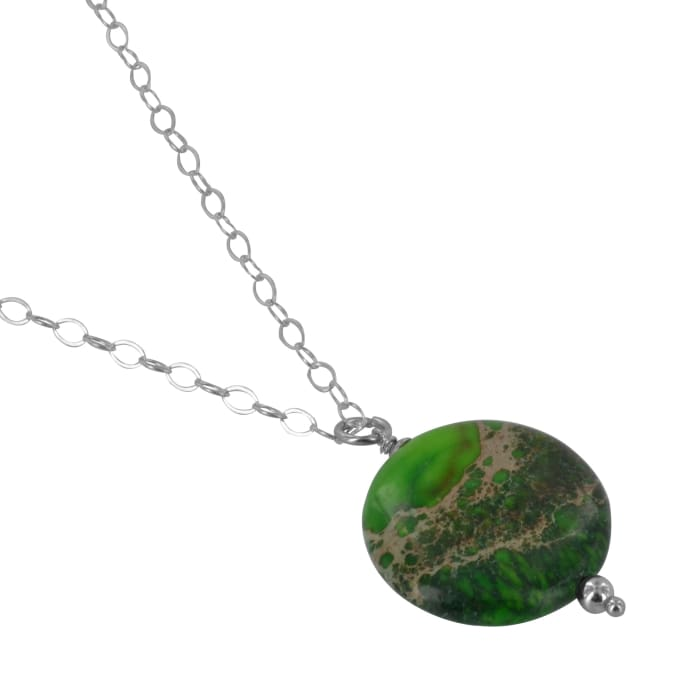 Green Gemstone Pendant | Green Jasper Silver Necklace - Necklaces