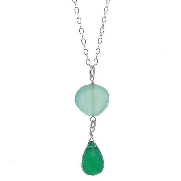 Green Necklace | Green Light Blue Chalcedony | Gemstone Pendant - Necklaces
