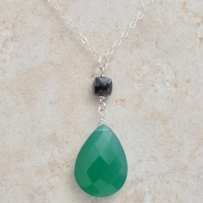 Green Pendant: Emerald Green Chalcedony | Green Gemstone Necklace - Necklaces