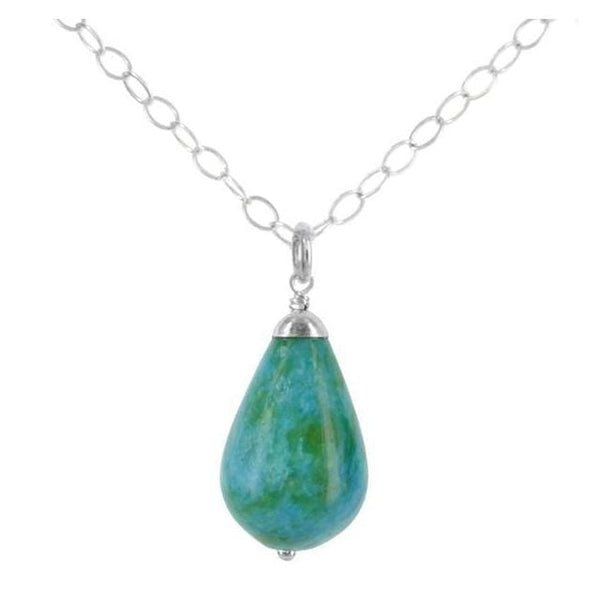 Jasper Necklace | Blue Green Gemstone Pendant | Teardrop Necklace - Necklaces