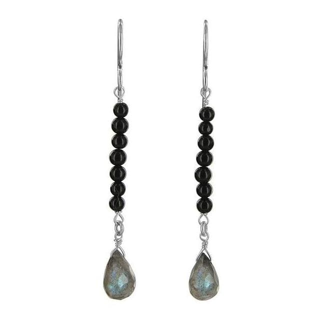 Labradorite Earrings | Black Onyx Gemstone Drop Earrings - Earrings