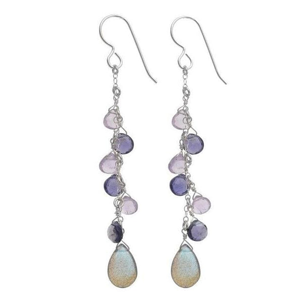 Labradorite Earrings | Pink Amethyst Iolite Gemstones | Chandelier Earrings - Earrings