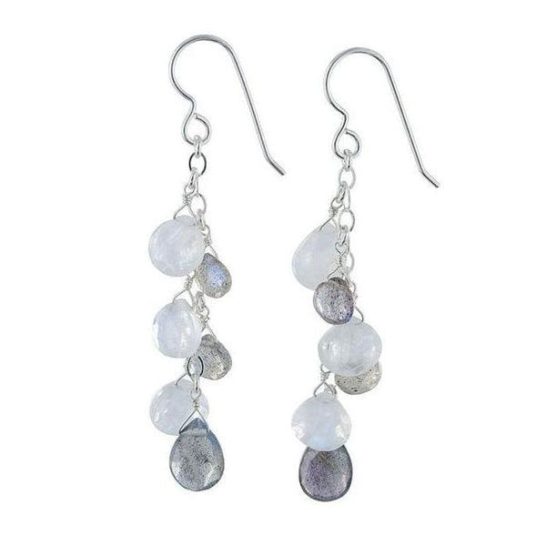 Labradorite Long Chandelier Earrings | Rainbow Moonstone Gems - Earrings