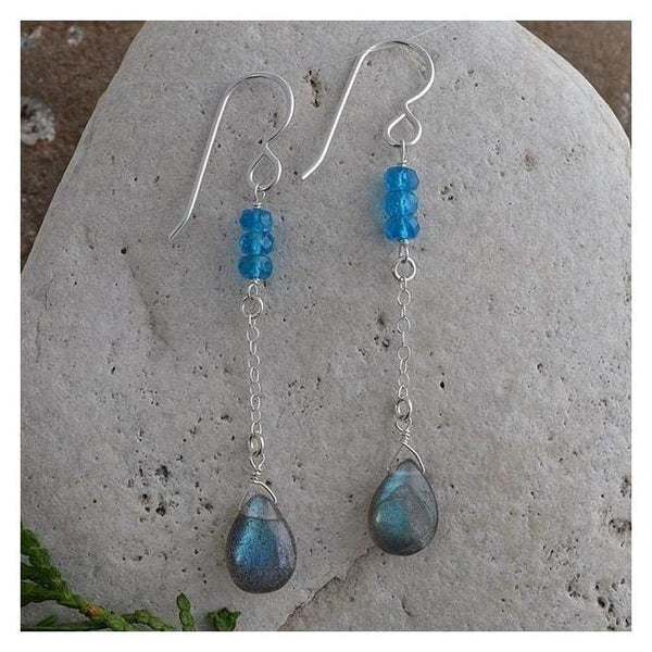 Labradorite Long Earrings | Blue Apatite Gemstones - Earrings
