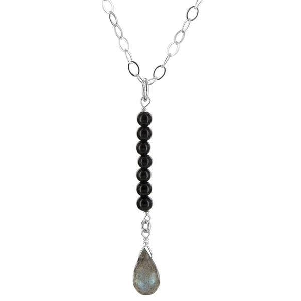 Labradorite Necklace | Black Onyx Drop Gemstone Pendant - Necklaces