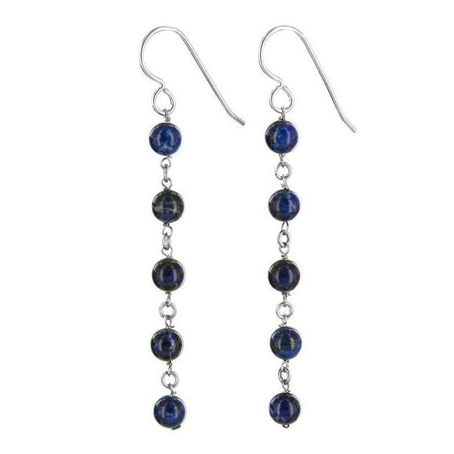 Lapis Earrings | Long Dangle Navy Blue Earrings - Earrings