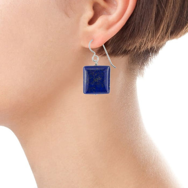 Lapis Earrings | Square Lapis | Navy Blue Earrings | Lapis Jewelry - Earrings