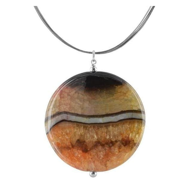 Large Agate Pendant | Gemstone Necklace | Orange Jewelry - Necklaces