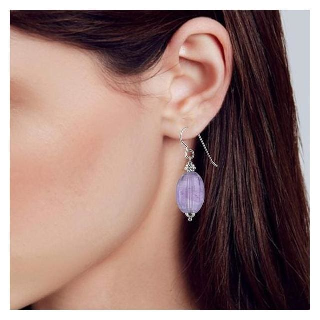 Large Amethyst Earrings | Amethyst Dangle Silver Gemstone Jewelry - Earrings