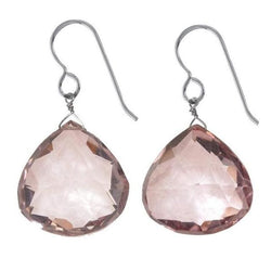 Large Baby Pink Earrings | Pink Quartz Gemstone Jewelry - Earrings