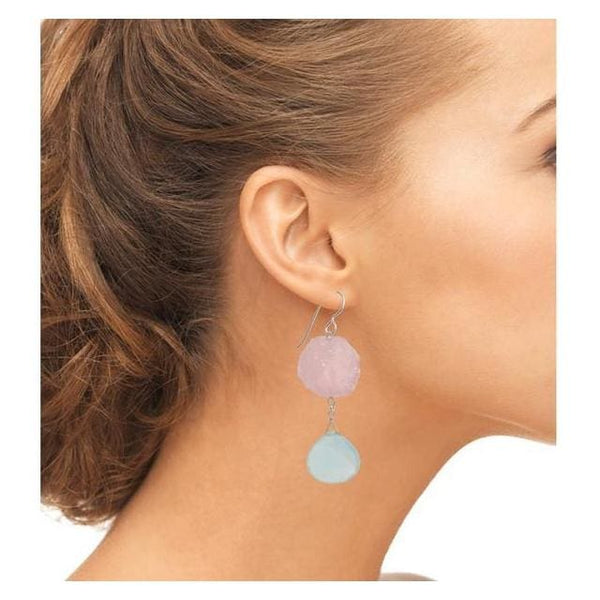 Large Bold Statement Earrings | Blue Chalcedony Rose Quartz | Baby Pink Baby Blue - Earrings