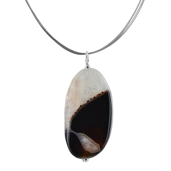 Large Gemstone Pendant | Natural Black Onyx | Black and White Necklace - Necklaces