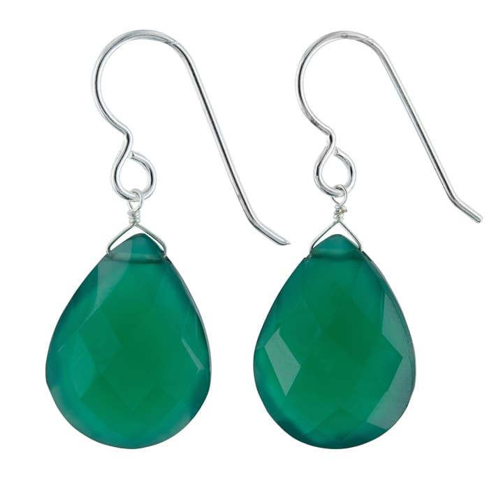 Large Green Earrings | Green Gemstone Jewelry | Green Chalcedony - Earrings