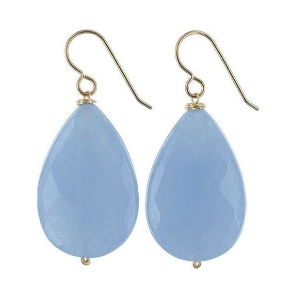Large Light Blue Earrings | Aqua Blue Jade Gemstones | Bold Earrings - Earrings