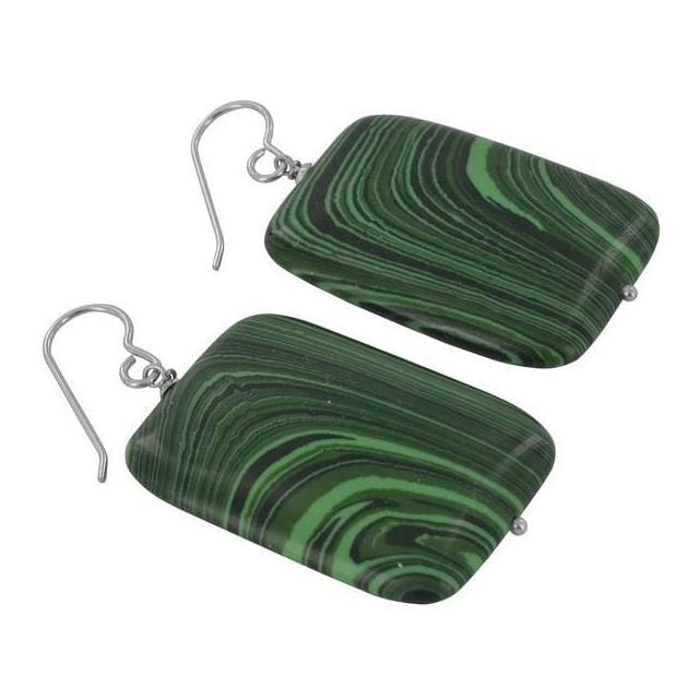 Large Malachite Gemstones - 925 Sterling Silver - Handmade Statement Earrings - Earrings