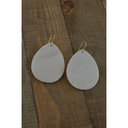 Large Mother of Pearl 14K GF Handmade Dangle White Earrings - Earrings