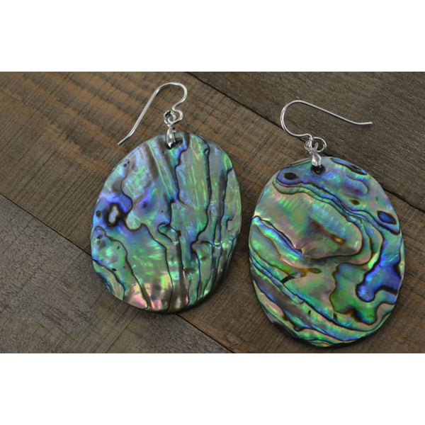 Large Oval Abalone Earrings 45x35 MM | Mother of Pearl Jewelry | Abalone Jewelry - Earrings