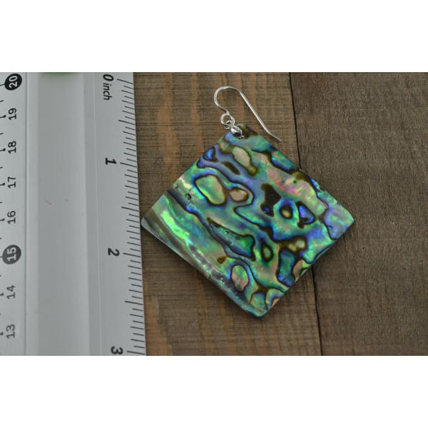 Large Square Abalone Earrings 40x40 MM | Mother of Pearl Jewelry | Abalone Jewelry - Earrings