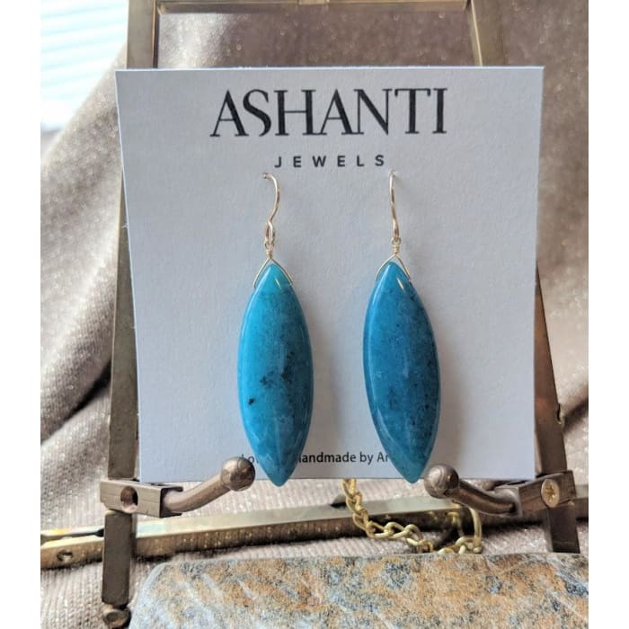 Large Teal Earrings | Long Gemstone Jewelry for Women | Unique Jewelry - Earrings